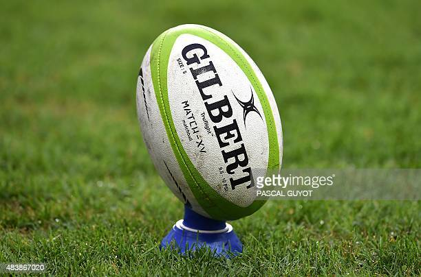 A picture shows a rugby ball on August 13 2015 at the Altrad stadium in Montpellier south of France AFP PHOTO / PASCAL GUYOT