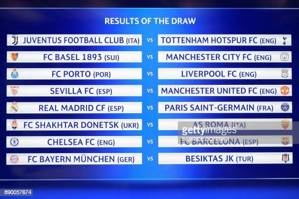 TOPSHOT A picture shows a screen displaying the fixtures after the draw for the round of 16 of the UEFA Champions League football tournament at the...