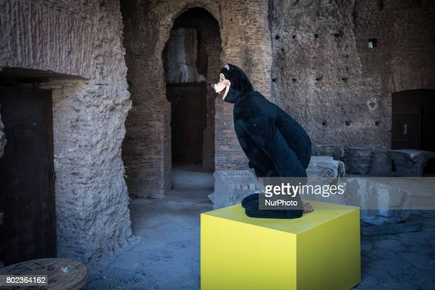 A picture shows a sculpture by artist Paul McCarthy titled quotBear sculpturequot on June 27 2017 at the Palatine Hill in Rome during a press preview...