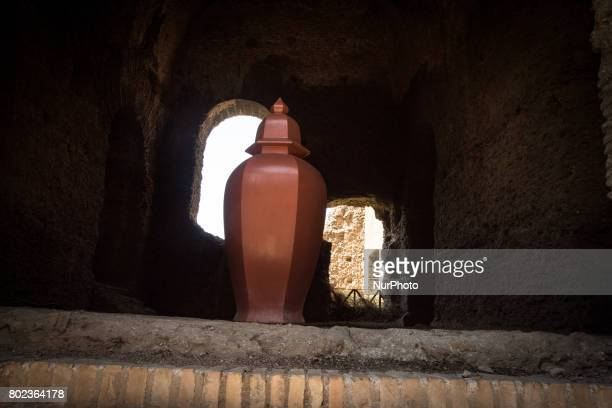 A picture shows a sculpture by US artist Allan McCollum titled quotPerfect Vehiclesquot on June 27 2017 at the Palatine Hill in Rome during a press...