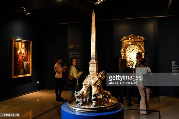 A picture shows a small reproduction of the 'Fountain of the Four River' of Piazza Navona by Italian sculptor Gian Lorenzo Bernini as part of the...