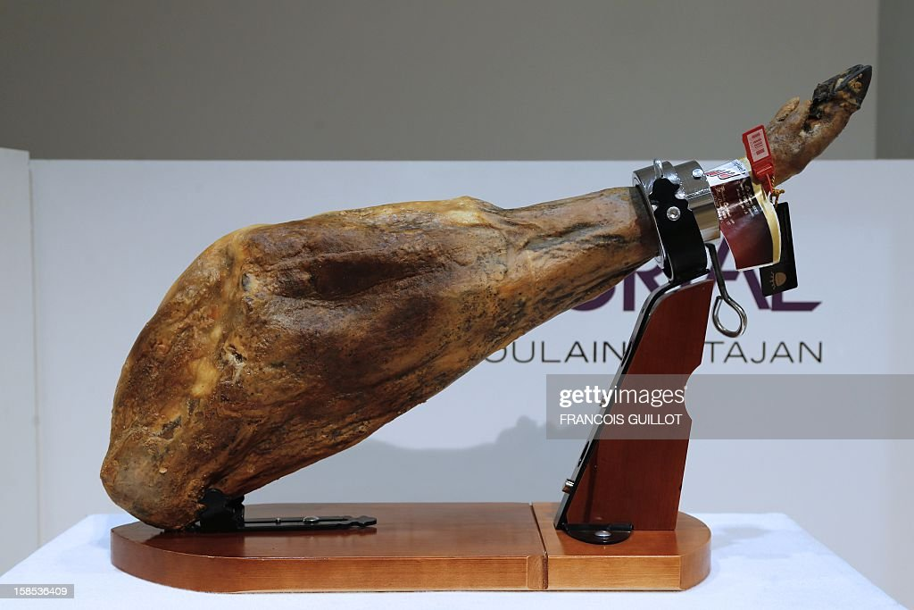 A picture shows a Spanish ham Iberico of Bellota from 2008 during a sale of fine food to raise funds for the French Red Cross on December 18, 2012 French auction house Artcurial in Paris.
