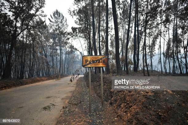 Picture shows a traffic sign showing the name of Pobrais one of the villages with higher number of victims in Pobrais Pedrogao Grande on June 19 2017...