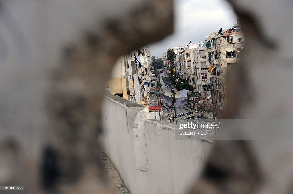 A picture shows a view of a street in the Salaheddine neighbourhood of Aleppo on February 16, 2013. More than 300 people were abducted by armed groups in northwestern Syria over two days in an unprecedented string of sectarian kidnappings, a watchdog and residents said.