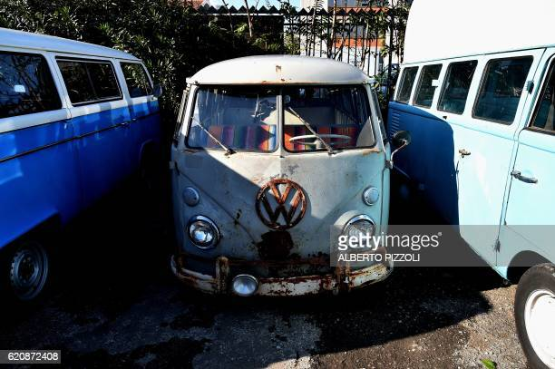 A picture shows a vintage Volkswagen Kombi bus to be restored by the 'T1 specialist' team on November 3 2016 at the garage Nucci in Florence Campers...