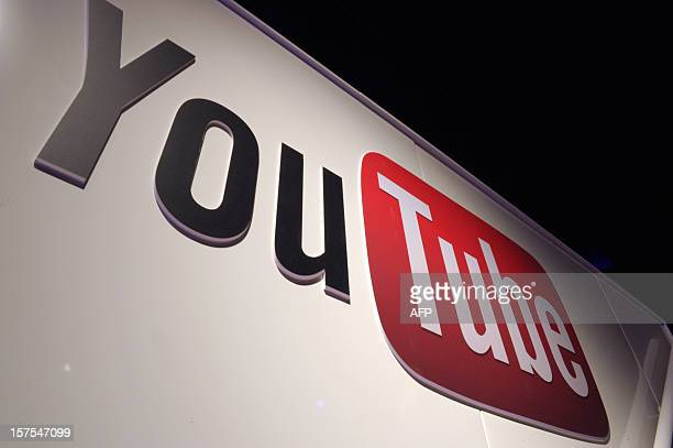 A picture shows a You Tube logo on December 4 2012 during LeWeb Paris 2012 in SaintDenis near Paris Le Web is Europe's largest tech conference...