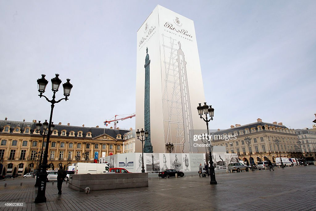 A picture shows an advertisement of the Ritz hotel displayed on the Vendome column Place Vendome on November 23 2014 in Paris France This display...