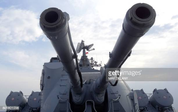 A picture shows an artillery system on the Russian missile cruiser Moskva in the Mediterranean Sea off the coast of Syria on December 17 2015 Russia...