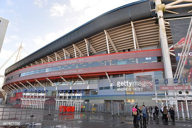 A picture shows an exterior view of The Millennium stadium in Cardiff south Wales on February 21 2014 with the roof closed The Millennium stadium...