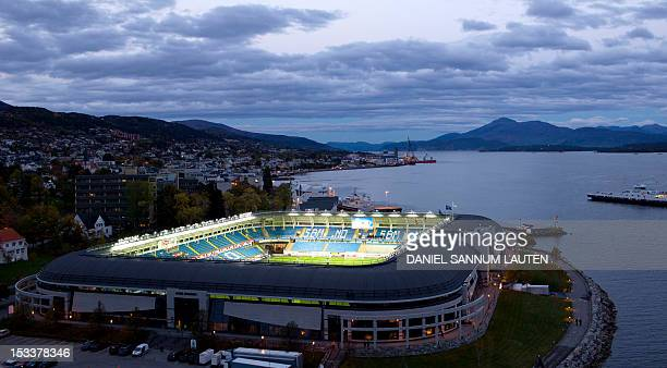 A picture shows an overview of Aker Stadium prior to the UEFA Europa League Group E football match Molde vs Stuttgart in Molde on October 4 2012 AFP...