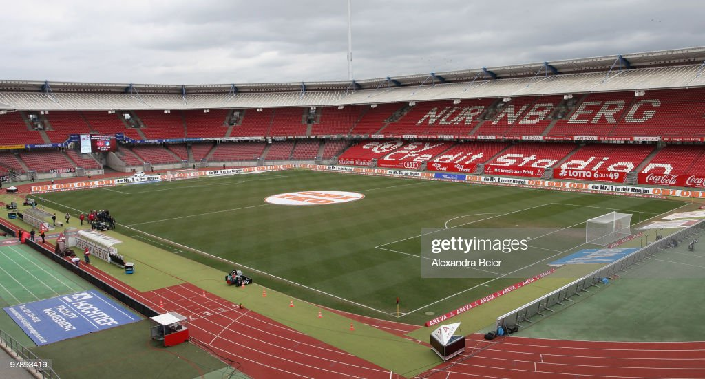 Picture shows an overview of the Easy Credit Stadium on March 20 2010 in Nuremberg Germany