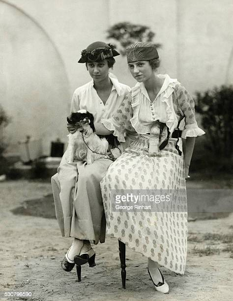 Picture shows Benita and Peggy Guggenheim with 'Twinkle' at the Third Annual Dog Show of the Westchester Kennel Club at Gedney Farms