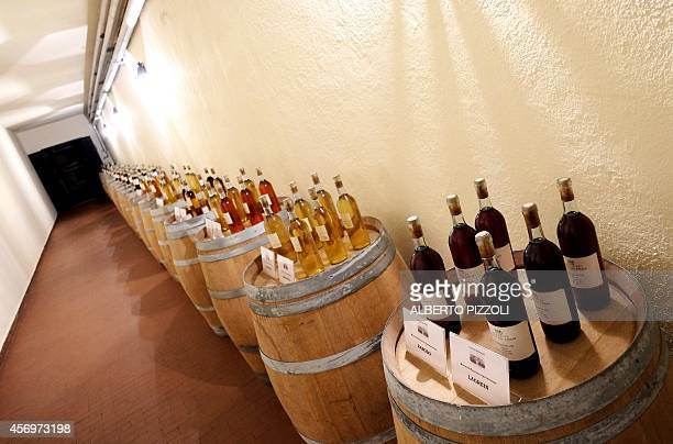 PALASCIANO A picture shows bottles of wine at the Casale Del Giglio winery in the small village of Borgo Le Ferriere near Nettuno south of Rome on...