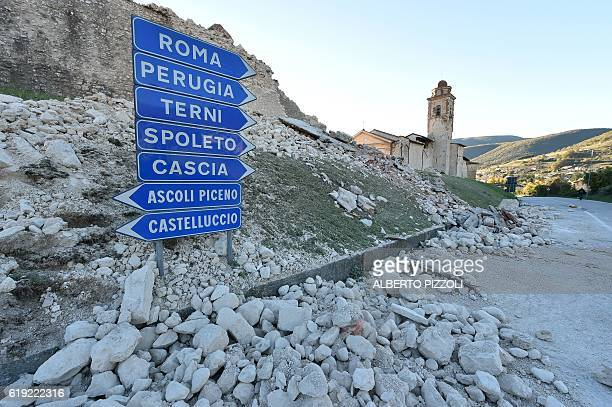 TOPSHOT A picture shows collapse near the center of Norcia following a 66 magnitude earthquake on October 30 2016 It came four days after quakes of...