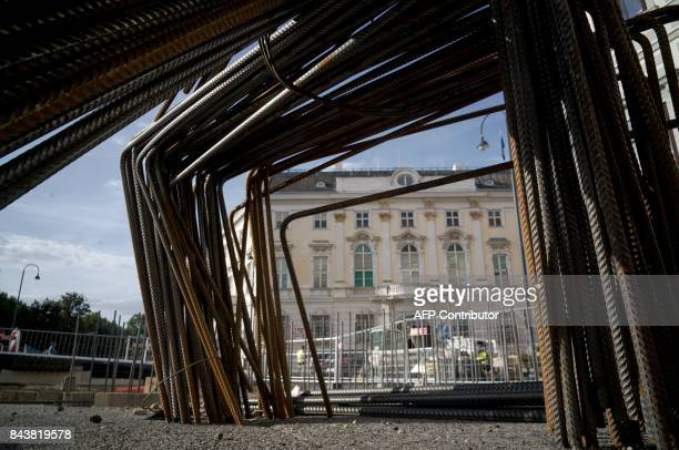 A picture shows construction site of the controversial antiterrorist wall to protect Austrian Federal Chancellery and Presidential Chancellery from...