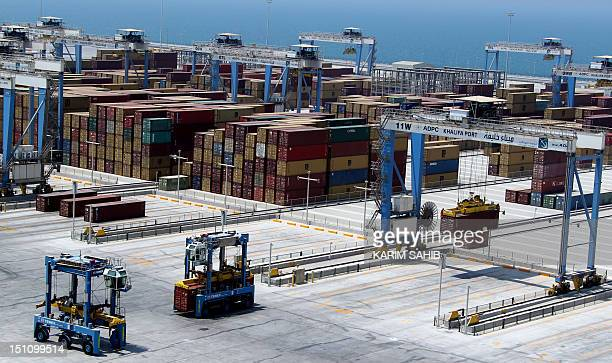 A picture shows containers at the new Khalifa Port in Abu Dhabi on September 1 2012 Oilrich Abu Dhabi began commercial operations at its new Khalifa...