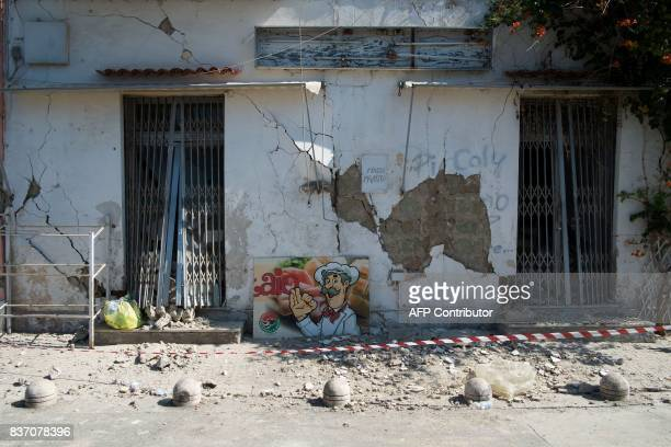 A picture shows damages in Casamicciola Terme on the Italian island of Ischia on August 22 after an earthquake hit the popular Italian tourist island...
