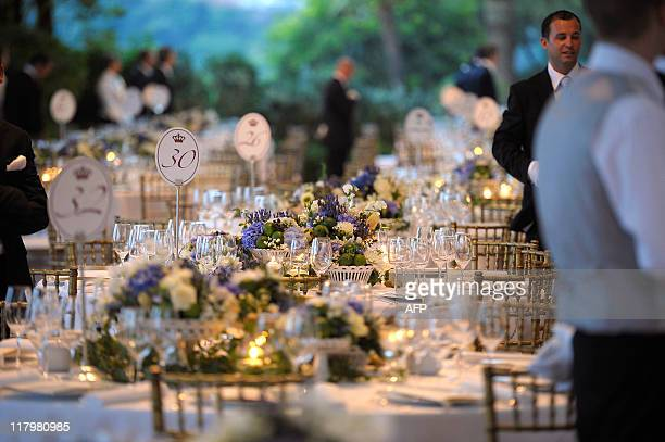 A picture shows decorated tables at the Opera Terraces before a dinner following the religious wedding ceremony of Prince Albert II of Monaco and...
