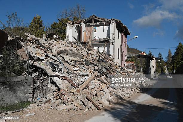 A picture shows destroyed houses in the village of Borgo Sant'Antonio hit by earthquakes on October 27 2016 near Visso central Italy Twin earthquakes...