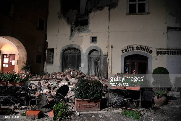A picture shows destructions in the village of Visso central Italy following earthquakes on October 26 2016 Twin earthquakes rocked central Italy on...