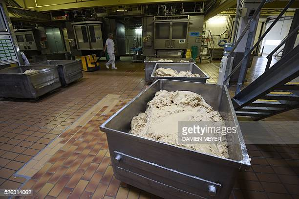 A picture shows dough in the production line of the 'petit beurre' biscuit in the factory of French biscuit manufacturer LU in La HayeFouassiere near...