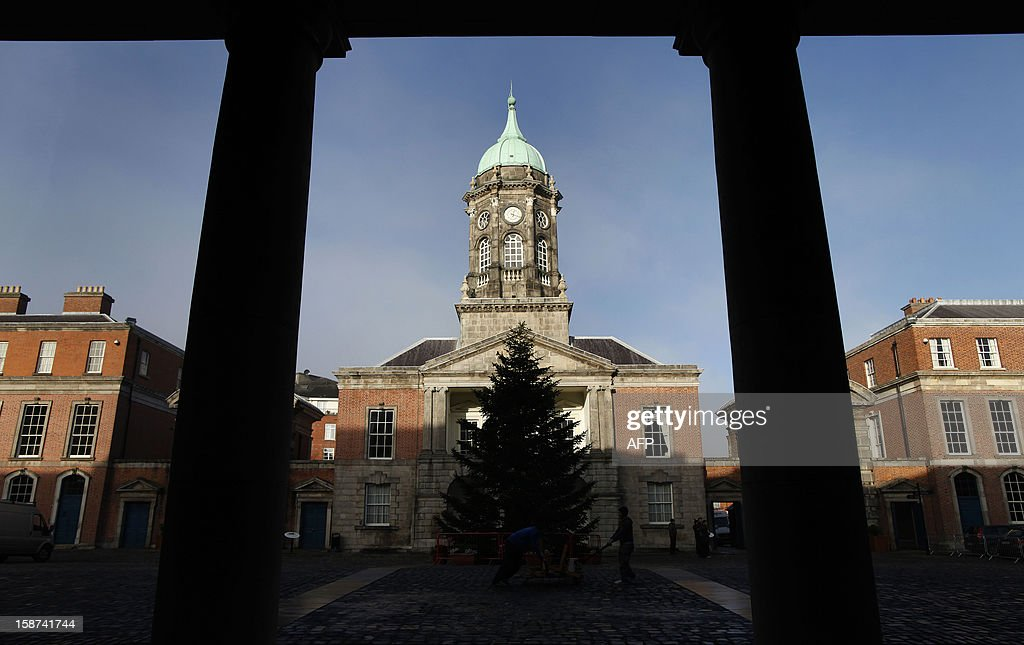 A picture shows Dublin Castle in Dublin, Ireland on December 18, 2012 where most meetings will take place when Ireland assumes the rotating presidency of the European Union. Bailed-out Ireland hopes to use the momentum of its presidency of the European Union in the first half of 2013 to push through measures to boost growth and create jobs. Ireland is the first country to take on the six-month rotating presidency of the 27-nation bloc while being propped up by money from the European Union and the International Monetary Fund. AFP PHOTO / PETER MUHLY