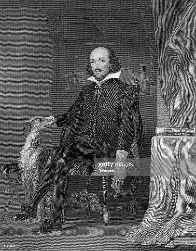 Picture shows English dramatist and poet, William Shakespeare (1564-1616). Undated engraving.