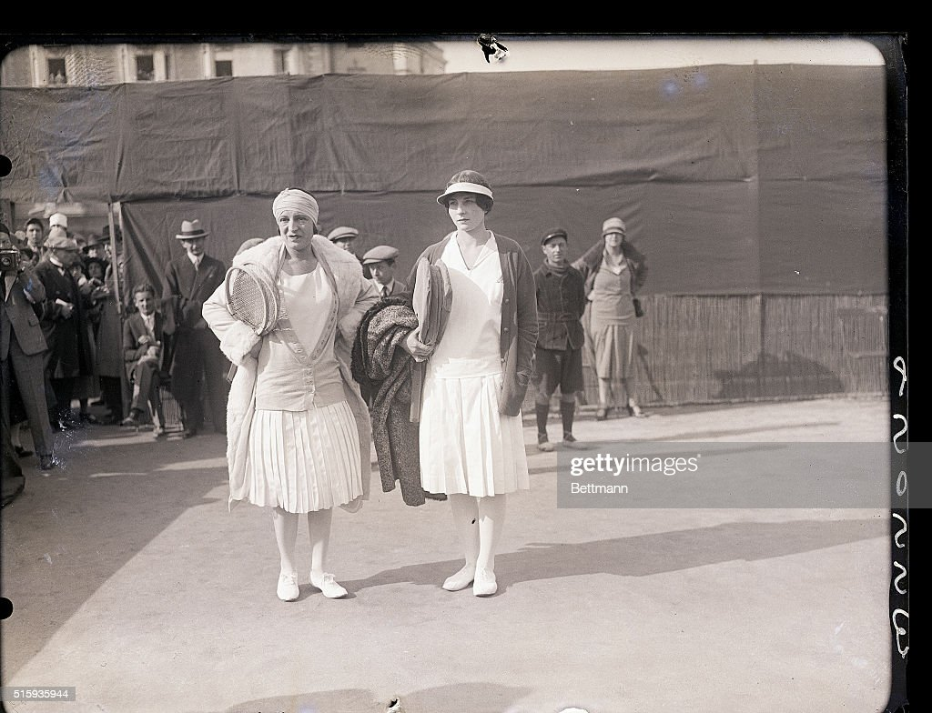 Suzanne Lenglen with Opponent on Court