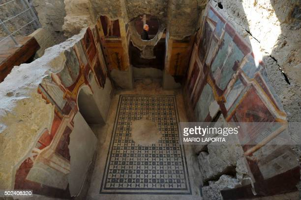 TOPSHOT A picture shows frescoes in the Criptoporticus Domus one of six restored domus at UN World Heritage Site Pompeii on December 24 2015 during...