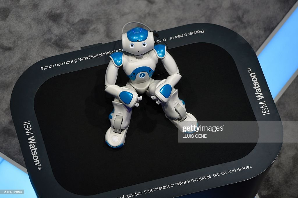 Picture shows IBM Watson robot on the third day of the Mobile World Congress in Barcelona on February 24 2016 The world's biggest mobile fair Nobile...