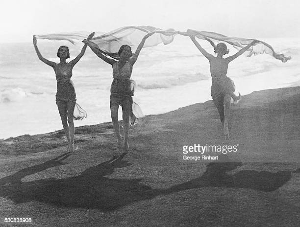 Picture shows Isadora Duncan in a seaside performance