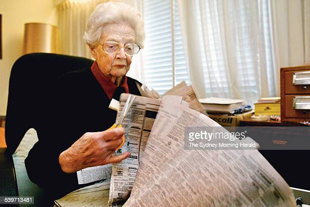 Picture shows Joyce Ryerson who has helped National Geographic with their map of human movement through the collection of death and birth notices...