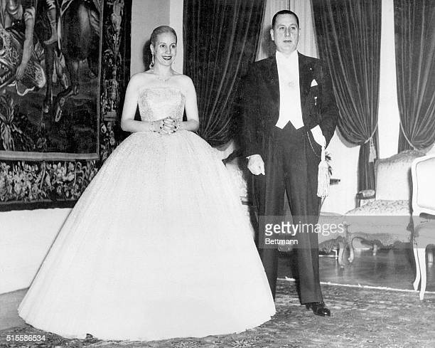 Picture shows Juan Peron Argentine President and his wife Evita They are shown wearing black tie attire Undated photo circa 1950s