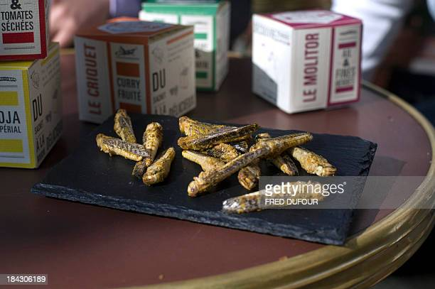 A picture shows locust crackers in Paris on October 7 2013 Curry or cuminflavoured insects with your aperitif Clement Scellier and Bastien Rabastens...
