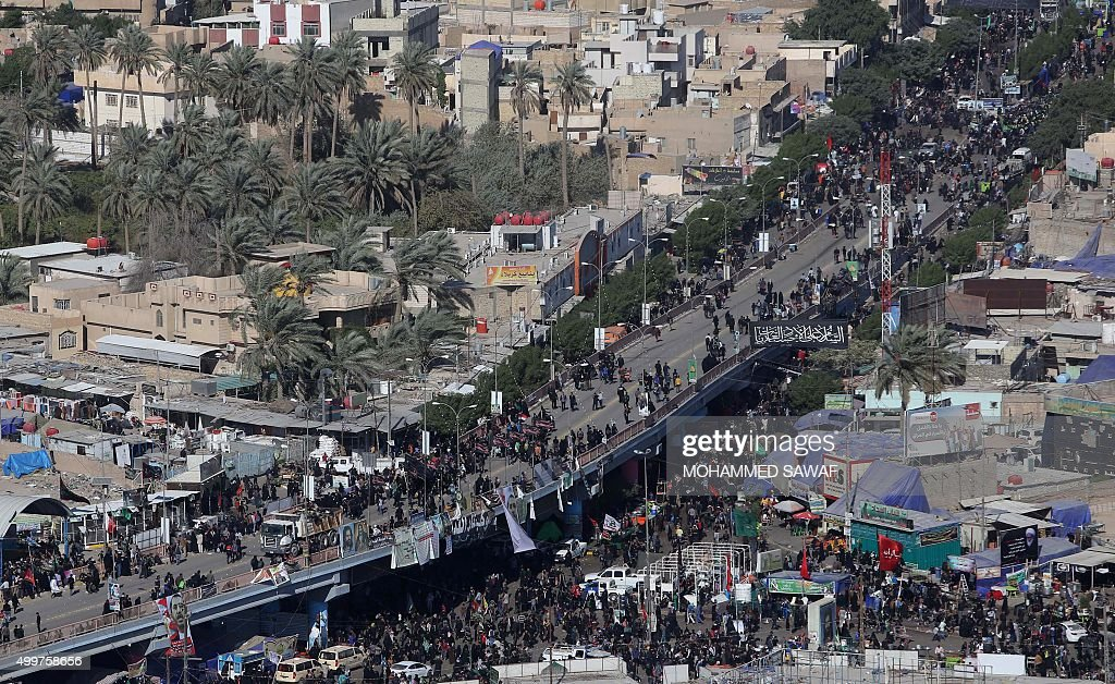 A picture shows on December 3 2015 an aerial view of Shiite Muslim pilgrims gathering in the central Iraqi city of Karbala 120 kms south of the...