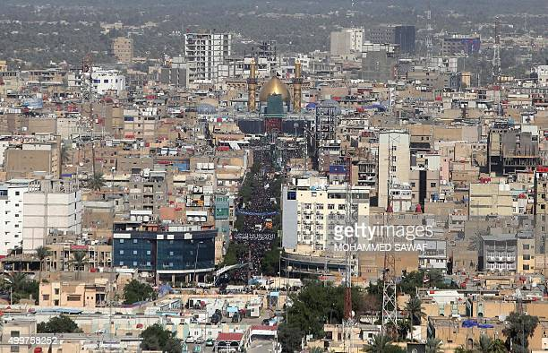 A picture shows on December 3 2015 an aerial view of the central Iraqi city of Karbala 120 kms south of the capital Baghdad during the Arbaeen...