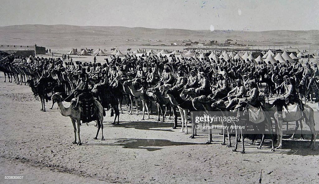Picture shows Ottoman soldiers mounted on camels during the First World War preparing to attack the British forces 1917 Palistine