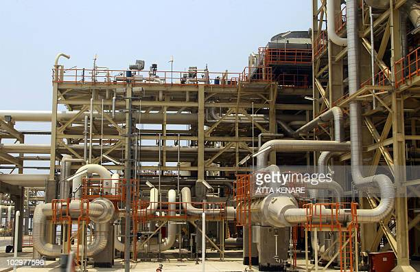 A picture shows phase 5 of South Pars gas field development in the southern Iranian port town of Asaluyeh on July 19 2010 as a top official announced...