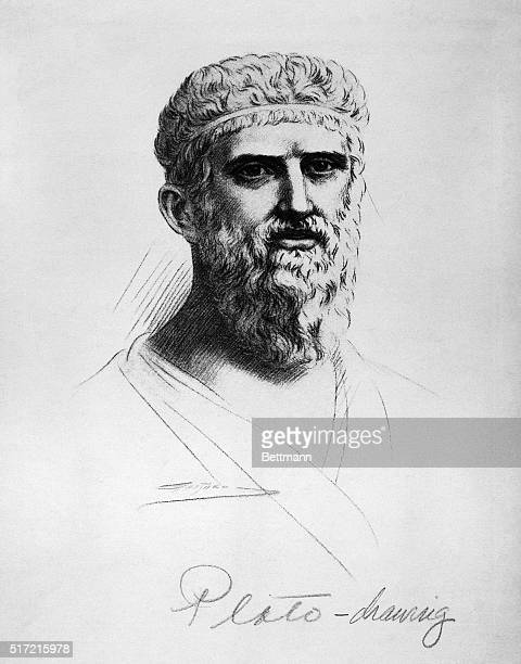 Picture shows Plato Greek Philosopher Recorded Philosophy of his master Socrates founded the Academy Undated drawing by Gaspard