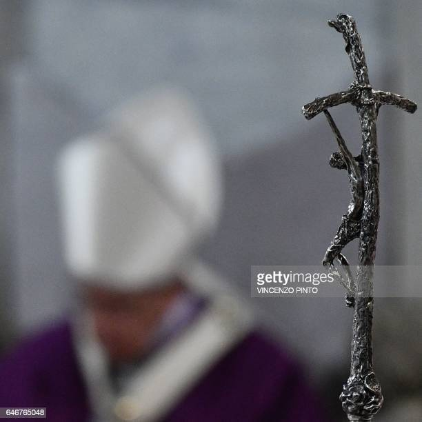 A picture shows Pope Francis' crozier during the Ash Wednesday mass opening Lent the fortyday period of abstinence and deprivation for Christians...