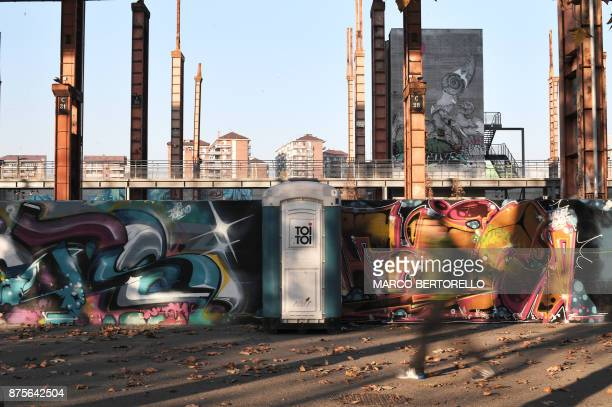 A picture shows portable toilet in the Dora Park of Turin on November 17 2017 AFP is presenting a worlwide photo theme on public toilets ahead of the...