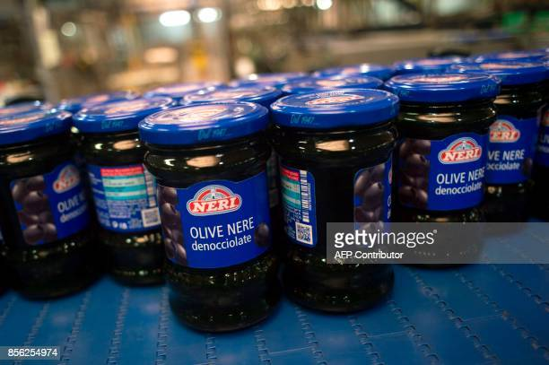 Picture shows preserved olives at 'Agro Sevilla' olive manufacturing company in La Roda de Andalucia on September 29 2017 / AFP PHOTO / JORGE GUERRERO