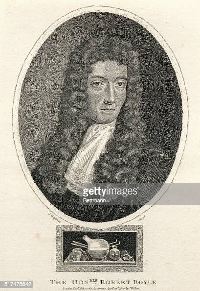 Picture shows Robert Boyle British physicist and chemist Along with Hook he invented the compressedair pump experimented in pneumatics and held that...