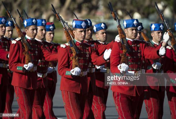 A picture shows royal guards marching ahead of the arrival of Morocco's and Jordan's kings for a welcome ceremony at the Royal Palace in Rabat on...