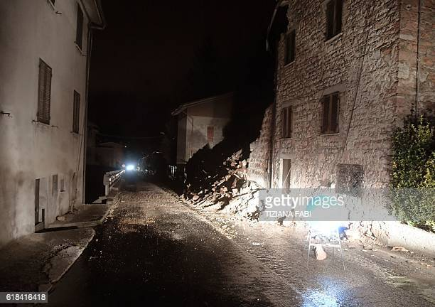 A picture shows rubbles in the village of Borgo Sant'Antonio near Visso central Italy after earthquakes on October 26 2016 Twin earthquakes rocked...