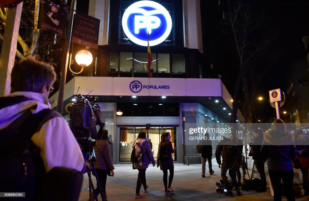 Picture shows ruling Popular Party (PP) headquarters in Madrid on February 11, 2016. The police searched today offices of the Spanish construction company OHL and headquarters of Mariano Rajoy's Popular Party (PP) as well as the homes of two of its leaders, as part of an investigation into alleged corruption, a judicial source said Thursday. JULIEN