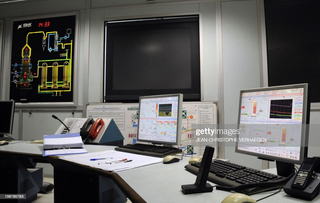 A picture shows screens in a control room at the blast furnaces of steel giant ArcelorMittal in Hayange part of the Florange site, eastern France, on November 20, 2012. ArcelorMittal's management said on November 19, 2012 that the 'situation is even more sluggish in 2013 than in 2012' for some of its activities during an Extraordinary Central Works Council which concluded without providing informations about potential buyers. AFP PHOTO / JEAN-CHRISTOPHE VERHAEGEN