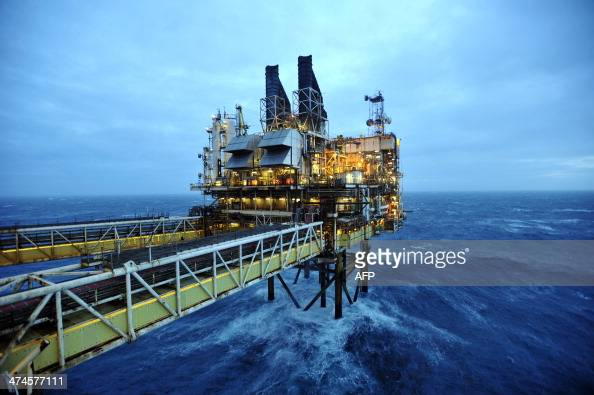 A picture shows section of the BP ETAP oil platform in the North Sea around 100 miles east of Aberdeen Scotland on February 24 2014 The British...