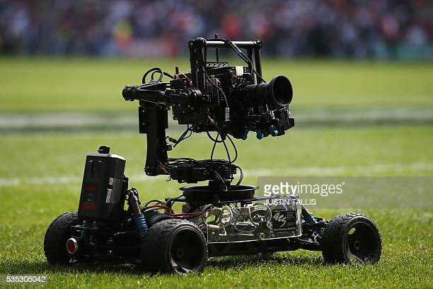 A picture shows SKy Sports gokart mounted camera during the international rugby union match between England and Wales at Twickenham Stadium in west...