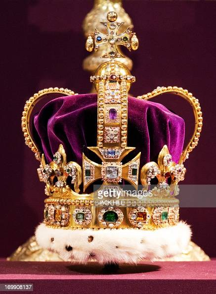 A picture shows St Edward's Crown the crown used in coronations for English and later British monarchs and one of the senior Crown Jewels of Britain...